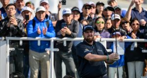 Ireland's Shane Lowry tees off during the final round of the Hong Kong Open on Sunday. Photograph:  Philip Fong/AFP via Getty Images