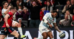 Racing 92's Virimi Vakatawa scores a try against Munster. Munster need Racing to defeat Saracens away to have any chance themselves of a quarter-final place. Photograph: Billy Stickland/Inpho