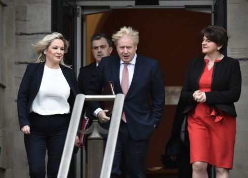 AT LONG LAST: British prime minister Boris Johnson with First and Deputy First Ministers of the Northern Ireland Assembly, Arlene Foster (right) and Michelle O'Neill (left), and Northern Secretary Julian Smith, at Stormont Castle on Monday to mark the restoration of devolution in Northern Ireland. Photograph: Colm Lenaghan/Pacemaker Press