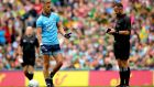 Referee David Gough with Jonny Cooper of Dublin during the All-Ireland final against Kerry. Cooper was sent off. Photograph: Ryan Byrne/Inpho