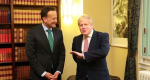 "Taoiseach  Leo Varadkar  with Britain's prime minister  Boris Johnson   inside Stormont Parliament Buildings.  Johnson promised a ""bright future"" for Northern Ireland.  Photograph:  Irish Government/AFP/Getty"