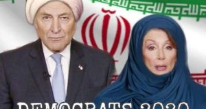 The manipulated image of Senator Chuck Schumer and House Speaker Nancy Pelosi wearing a turban and a headscarf in front of an Iranian flag, that US president Donald Trump retweeted