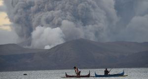 Taal volcano in the Philippines could spew lava and ash for weeks, authorities warned. Photograph: Ted Aljibe/AFP/Getty Images