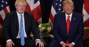 US president Donald Trump holds a bilateral meeting with UK prime minister Boris Johnson.