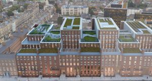 An artist's impression of Fitzwilliam 28 (shaded), and the adjoining Fitzwilliam 27 office scheme.  The A3 BER-rated number 28 will feature more than 1,759sq m of rooftop, courtyard and terrace gardens.