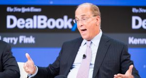 Larry Fink says BlackRock would 'be increasingly disposed' to cast critical proxy votes tied to sustainability. Photograph:  Michael Cohen/Getty Images for The New York Times