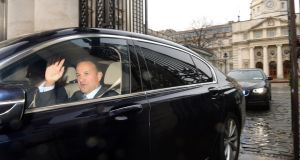 Taoiseach Leo Varadkar leaves Government Buildings to travel to Áras an Uachtaráin to seek a dissolution of the 32nd Dáil on Tuesday. Photograph: Dara Mac Dónaill/The Irish Times