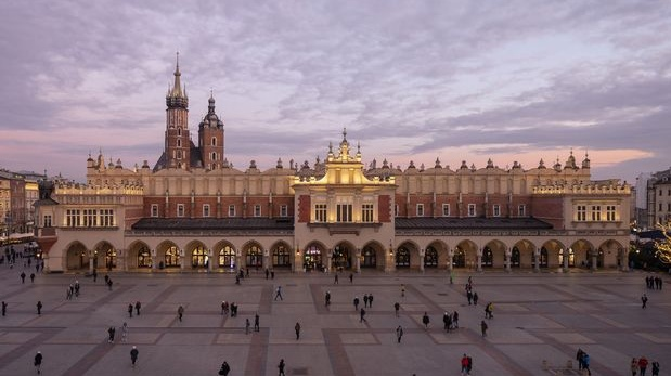 The main market square in Krakow, Poland. Photograph: Andreas Meichsner/The New York Times