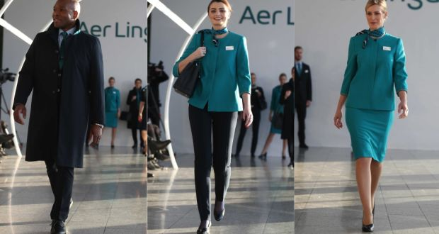 The new Aer Lingus uniforms designed by Louise Kennedy include an option for women to wear trousers. Photograph: Leon Farrell/Photocall Ireland