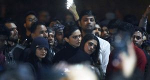 Bollywood actor Deepika Padukone (centre) visits students protesting at Jawaharlal Nehru University in New Delhi against attacks on students and teachers, on January 7th. Photograph: AFP via Getty Images