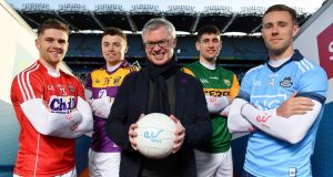 Rory O'Connor of Wexford, Alan Cadogan of Cork, Eir sport analyst Joe Brolly, Paul Geaney of Kerry and Paul Mannion of Dublin. Photograph: Brendan Moran/Sportsfile