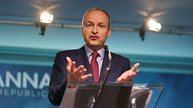Fianna Fáil leader Micheál Martin at the party's opening press conference of the general election campaign in Dublin on Wednesday. Photograph: Fran Veale/The Irish Times.