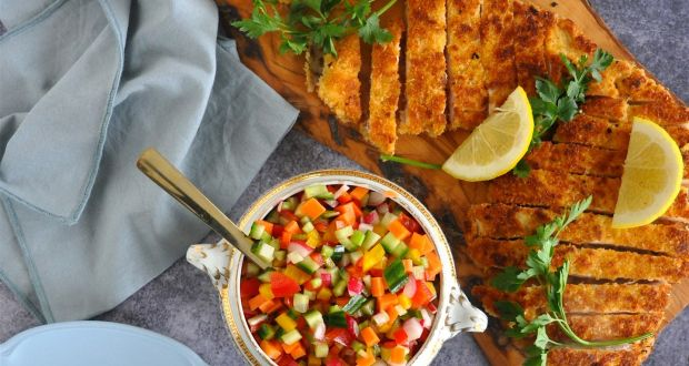 Chicken schnitzel with chopped salad