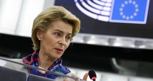 European Commission president Ursula von der Leyen during the presentation of the priorities of the rotating presidency of the European Council for the next six months at the European Parliament on January on Tuesday. Photograph: Frederick Florin/AFP via Getty Images