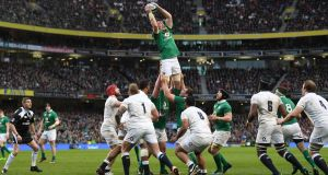Ireland in action against  England in the Six Nations. Photograph: Shaun Botterill/Getty Images