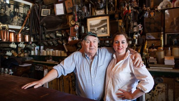 Mattie Maher and his daughter Teresa Maher de la Haba at McSorley's Old Ale House in New York in May 2013. Photograph: Michael Nagle