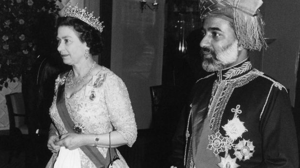 Queen Elizabeth II and Sultan Qaboos Bin Said of Oman leaving Claridge's Hotel after a banquet held in his honour in 1982. Photograph: PA Wire