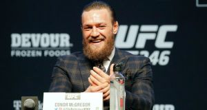Conor McGregor during a press conference for UFC 246 in Las Vegas. Photograph: AP