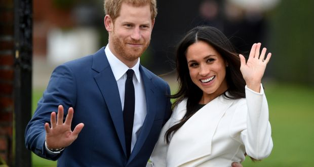 Britain's Prince Harry  with Meghan Markle  after they announced their engagement in November 2017. Photograph: Facundo Arrizabalaga/EPA
