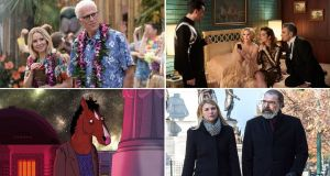 TV shows ending in 2020 (clockwise from top left): The Good Place, Schitt's Creek, Homeland and BoJack Horseman. Montage: NBC/CBS/Showtime/Netflix