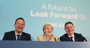 Taoiseach Leo Varadkar, Minister for Finance Paschal Donohoe and Minister for Business Heather Humphreys at Fine Gael press conference to launch their economic plan. Photograph  : Brian Lawless/PA Wire