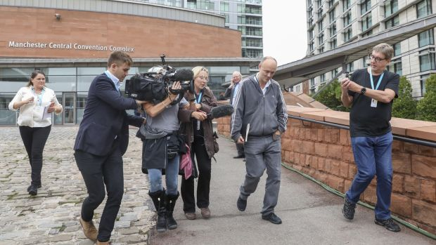 Members of the media surrounding Dominic Cummings at the Conservative Party conference in Manchester last September. Photograph: Chris Ratcliffe/Bloomberg via Getty Images