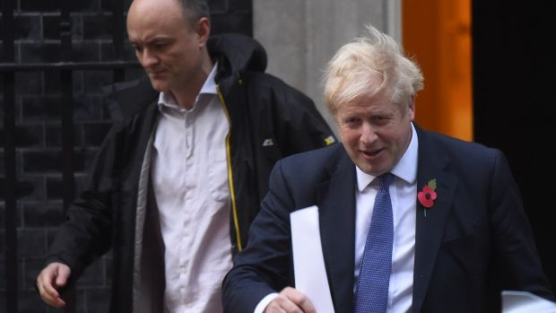 Irish backstop - Prime minister Boris Johnson and Dominic Cummings leaving Downing Street. Photograph: Peter Summers/Getty Images