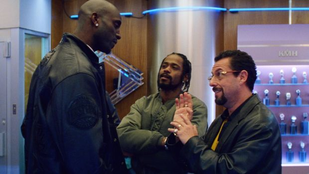 Kevin Garnett, LaKeith Stanfield and Adam Sandler in Uncut Gems