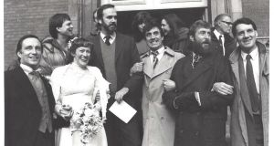 Members of the Monty Python comedy troupe attended the wedding of Nancy Lewis to Simon Jones, left. One member, Michael Palin, far right, said after her death, 'Python benefited so much from her quiet, persistent enthusiasm.' Photograph: Chris Parker/NYT