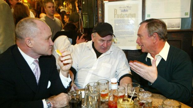 Matty Maher, centre, with New York City police commissioner Raymond W Kelly, left, and mayor Michael R Bloomberg in 2004, during a celebration of McSorley's 150th anniversary. Photograph: Kristen Artz/AP