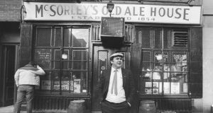 Matty Maher outside McSorley's Old Ale House, which he joined in 1964 as a bartender, eventually becoming its owner. Photograph: Ari Mintz/Getty Images