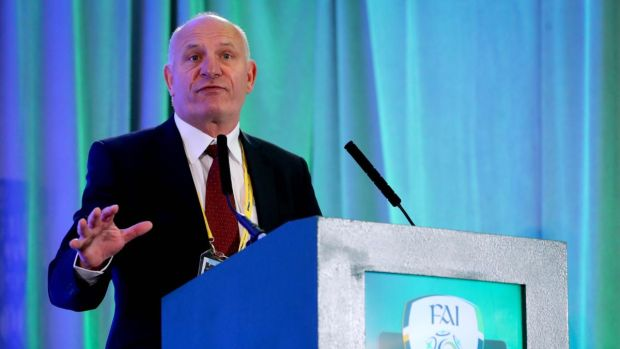 Gerry McAnaney speaking at the FAI AGM in Trim in July 2019. Photograph: Ryan Byrne/Inpho