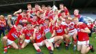 Cork celebrate their win over Dublin in the EirGrid GAA Football All-Ireland U20 Championship Final at Portlaoise. Photograph: Ken Sutton/Inpho
