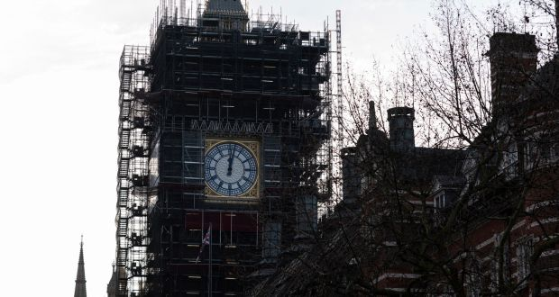 Big Ben: campaigners want its bell to chime for the first time since restoration work began in 2017 to mark Britain's departure from the EU on January 31st. Photograph: Will Oliver/EPA