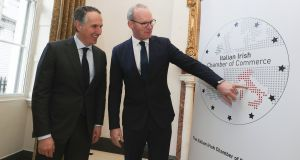 An Tánaiste, Minister for Foreign Affairs and Trade, Simon Coveney, pictured at the launch of the Italian Irish Chamber of Commerce in Dublin with Furio Pietribiasi, MD Mediolanum Asset Management