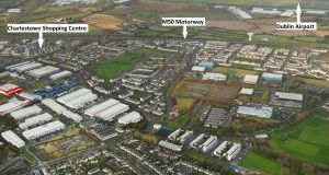An aerial view of the Jamestown Road site shows its proximity to the M50 and Charlestown shopping centre