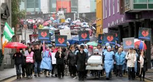 A protest in Waterford in 2016 seeking a second cath lab for University Hospital Waterford. Photograph: Patrick Browne