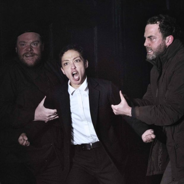 Ruth Negga as Hamlet in the Gate Theatre roduction, shown with Peter Gaynor and Mark Huberman.