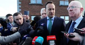 Taoiseach Leo Varadkar and Minister for Justice Charlie Flanagan speaking to media in Drogheda on Friday. Photograph: Brian Lawless/PA Wire