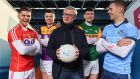 GAA pundit Joe Brolly with Cork's Alan Cadogan, Wexford's Rory O'Connor, Dublin's Paul Mannion and Kerry's Paul Geaney, at the launch of Eir Sport's 2020  Allianz Leagues coverage. Photograph:  Brendan Moran/Sportsfile