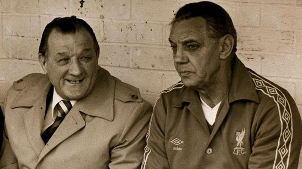 Liverpool manager Bob Paisley with his assistant Joe Fagan on the Anfield bench in November 1979. Paisley led the club to three European Cups. Photograph: AP Photo/PA