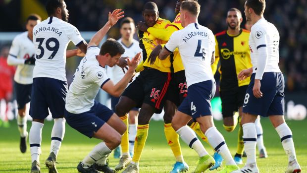 Tempers flare between Abdoulaye Doucoure and Jan Vertonghen. Photograph: Catherine Ivill/Getty