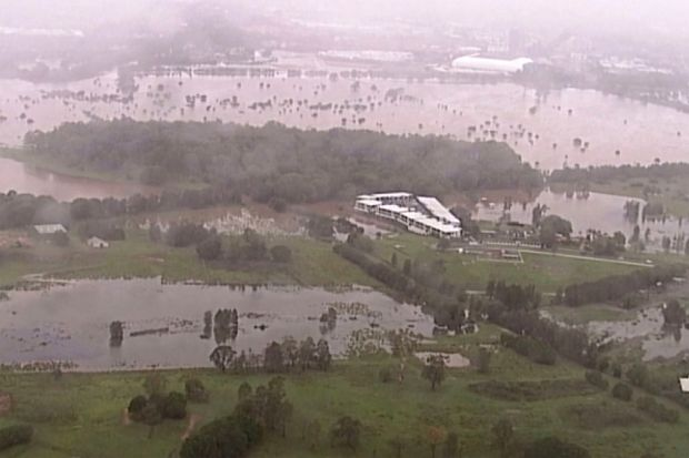 Flooded fields on Gold Coast, Australia on Saturday. Photograph: Australian Broadcasting Corporation/Channel 7/ Channel 9/AP