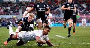 Ulster's Robert Baloucoune scores his side's second try. Photo: Ryan Byrne/Inpho