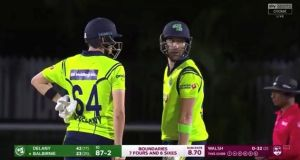 Captain Andrew Balbirnie (36) and Gareth Delany (44) helped Ireland to 147-9 in their innings against the West Indies. Photograph: Sky Sports