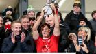 Tyrone's Kieran McGeary lifts the Dr McKenna Cup. Photograph: Declan Roughan/Inpho