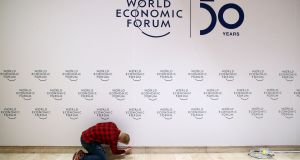 Preparing for the annual meeting of the World Economic Forum (WEF) in Davos, Switzerland: The climate crisis and sustainability are shaping up to dominate the event this year. Photograph: Denis Balibouse