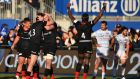 Saracens' players celebrate after beating Racing 92 in the Champions Cup. Photo: Glyn Kirk/Getty Images