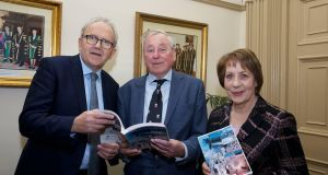 Irish Times education columnist Brian Mooney, Dr Maurice Manning and publisher  Phyllis Mitchell at the recent publication of Ireland's Yearbook of Education.