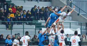 Leinster's Devin Toner and Eli Snyman of Benetton compete for a lineout  at the Stadio Comunale di Monigo, Treviso. Photograph: Matteo Ciambelli/Inpho
